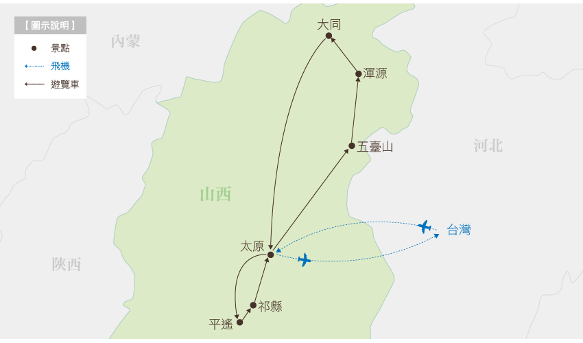 中國 山西行程地圖