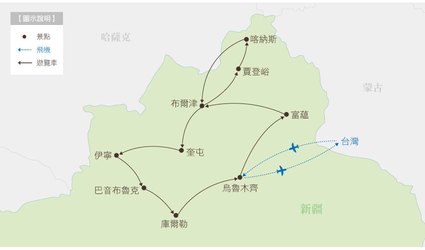 北疆行程地圖