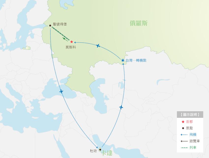 俄羅斯卡達行程地圖